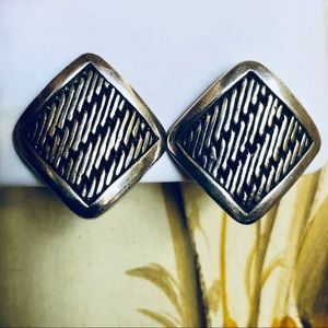 VTG Lois Hill Sterling Silver Button Clip Earrings